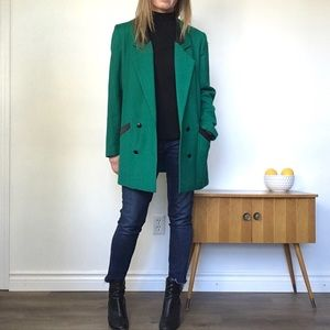 VINTAGE Emerald Green Wool Long Line Blazer Jacket